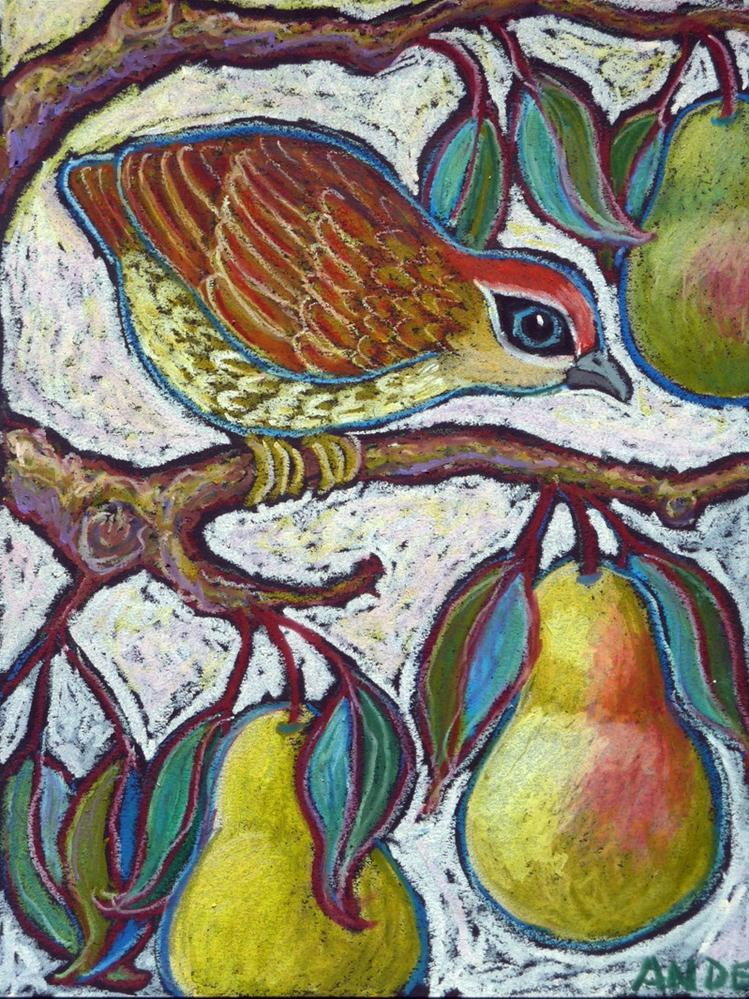 """Partridge in a Pear Tree 3"" original fine art by Ande Hall"