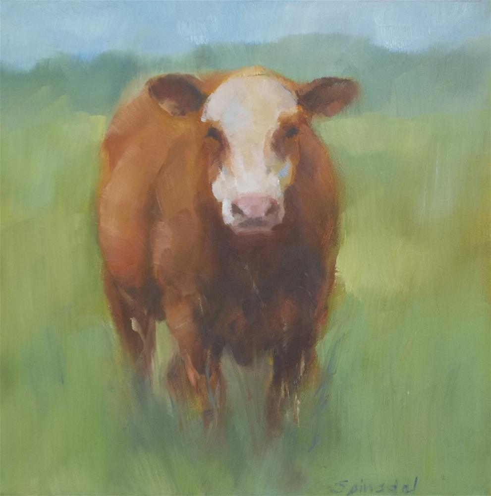"""White-Faced Cow"" original fine art by Nancy  Spinadel"