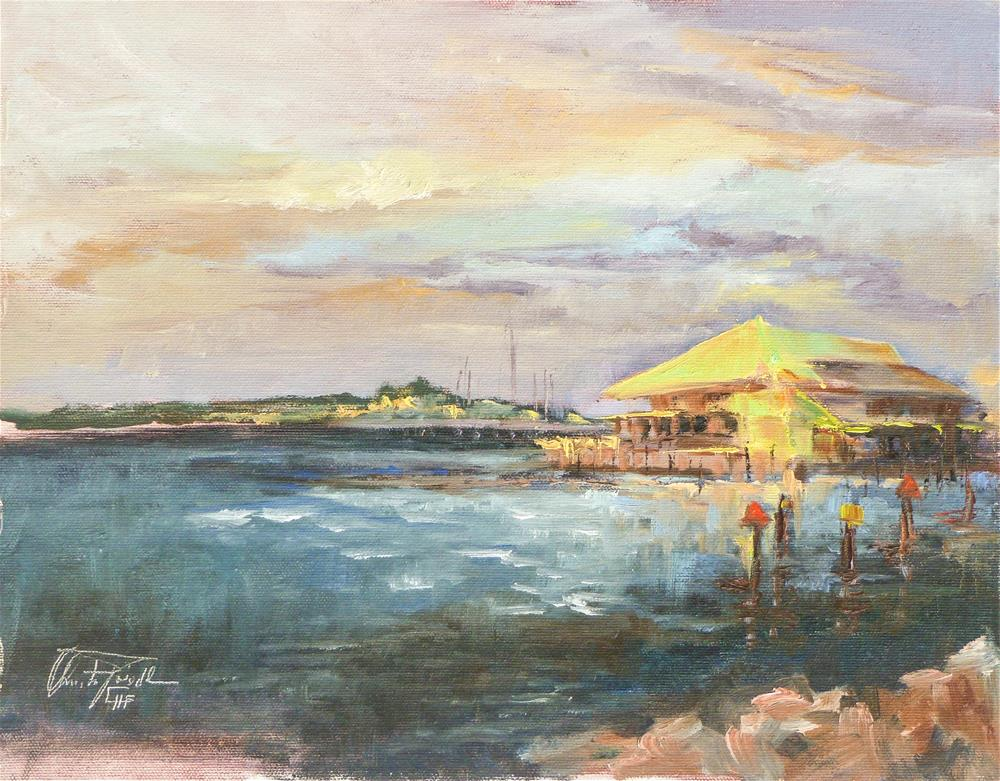 """Sunset at Fishermen´s Village, Punta Gorda, Florida"" original fine art by Christa Friedl"