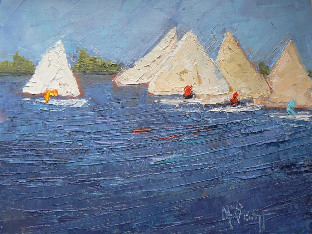 """Daily Painting, Sailboats Fun In The Sun 6x8"" original fine art by Carol Schiff"