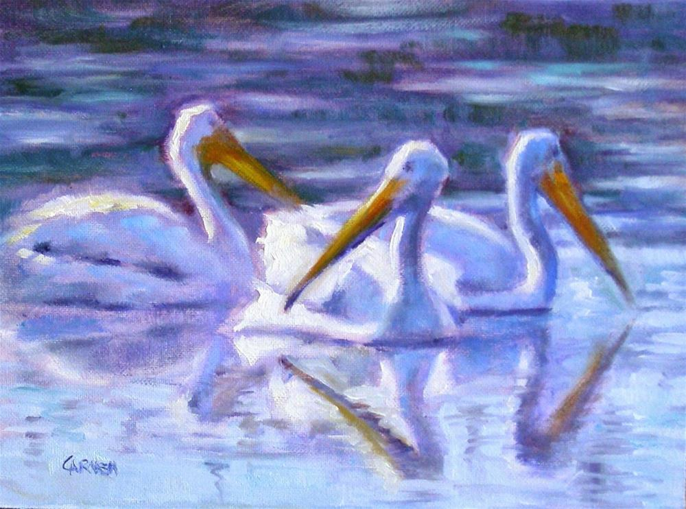 """White Pelicans, 8x6 Oil on Panel"" original fine art by Carmen Beecher"