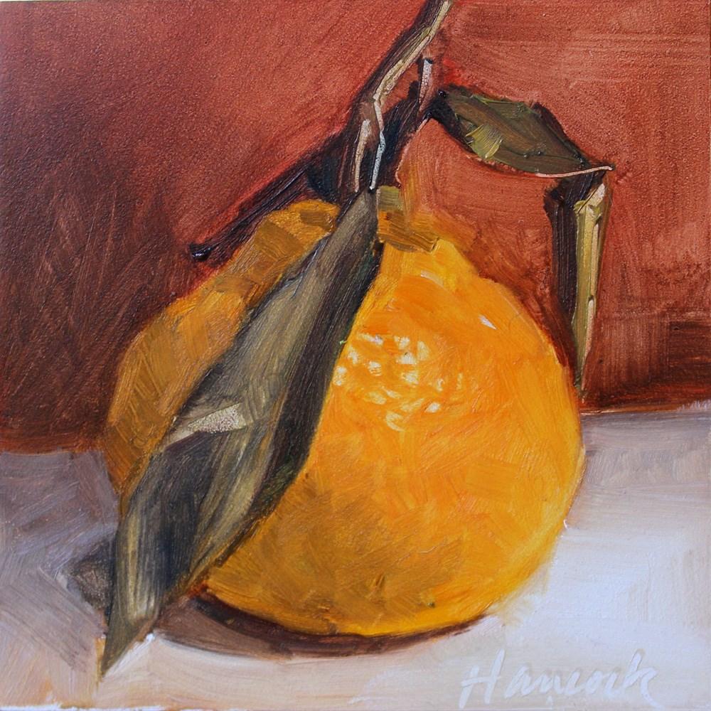 """""""Tangerine on Red"""" original fine art by Gretchen Hancock"""