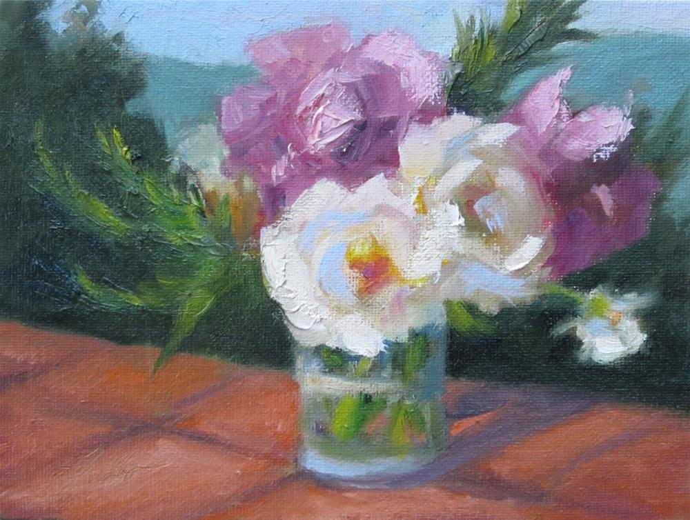 """Roses in Tuscany"" original fine art by Pat Fiorello"