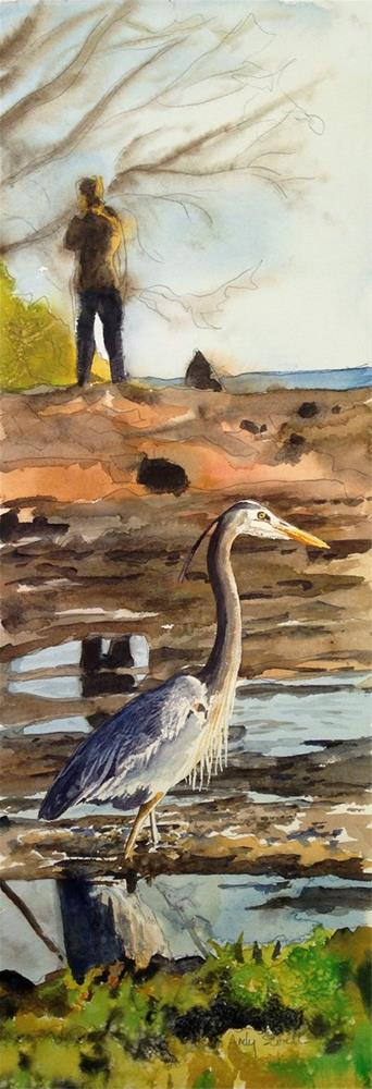 """H is for Heron or The Bird Watcher"" original fine art by Andy Sewell"
