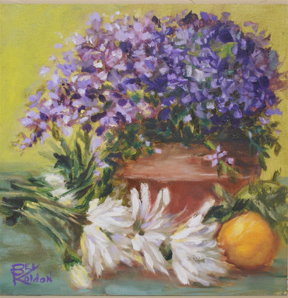 """Purple flowers and daisies"" original fine art by Beverly Koldon"
