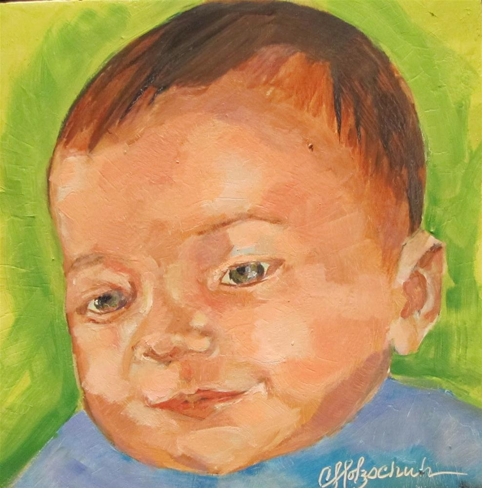 """Grandson   6x6  oil"" original fine art by Christine Holzschuh"