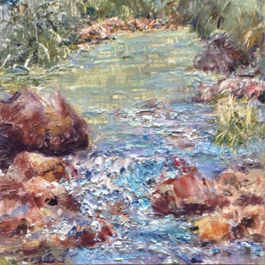 """River at LoLoMai Campground"" original fine art by Judy Usavage"