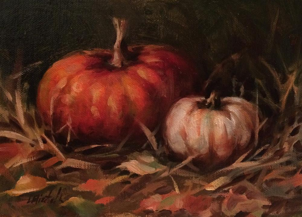 """Still Life with Pumpkins 5x7 Oil on linen panel"" original fine art by Carolina Elizabeth"