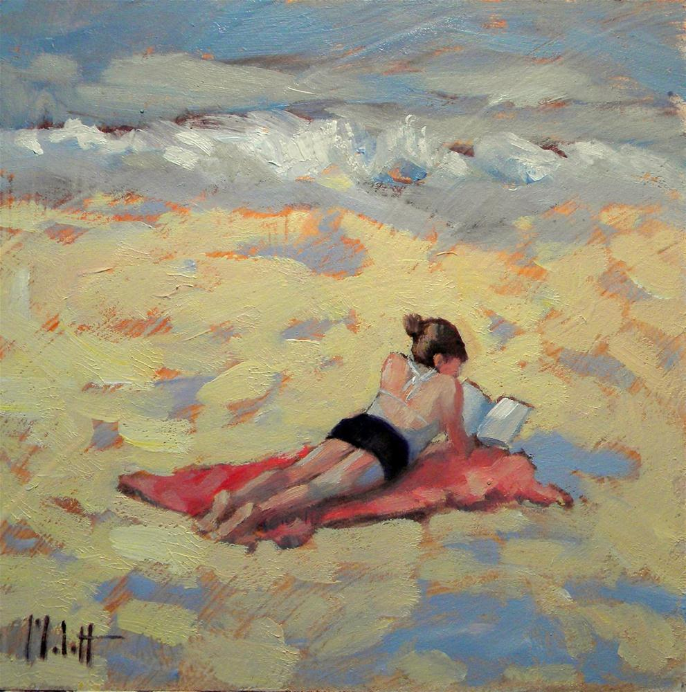 Spring Break Reading on the Beach Figure Contemporary Impressionism original fine art by Heidi Malott