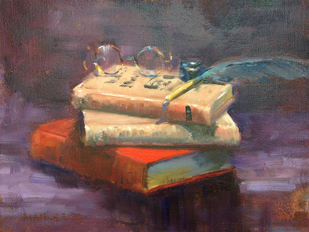 """Books and Quill"" original fine art by Cynthia Mahlberg"