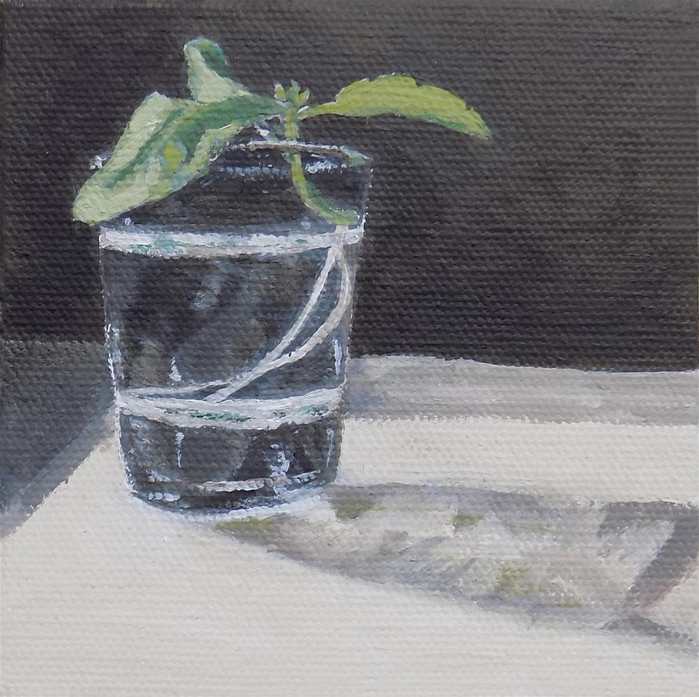 """""""Basil Cutting """" original fine art by Emily Clanton"""