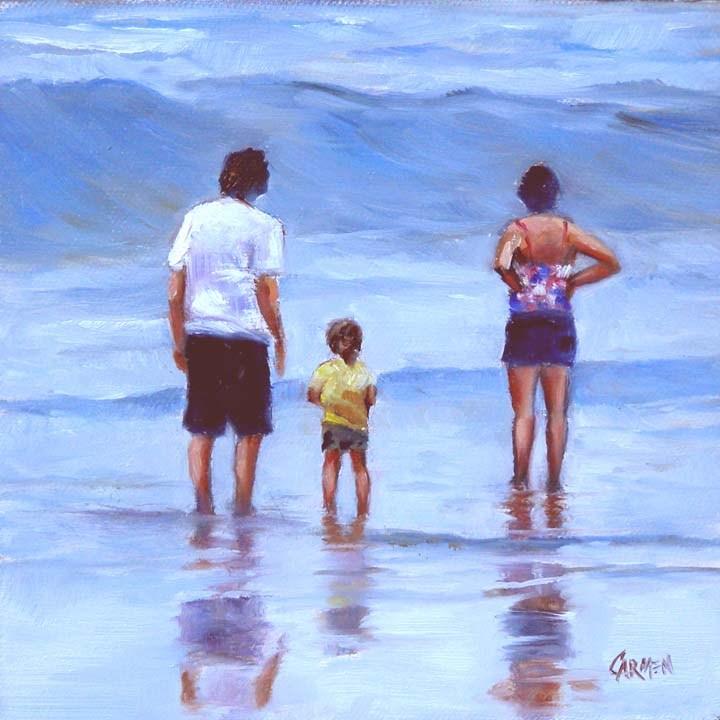 """""""Big Wave, 6x6 Oil on Canvas Board Seascape"""" original fine art by Carmen Beecher"""