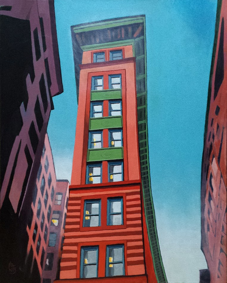 """Winthrop building, Boston"" original fine art by Ria Hills"