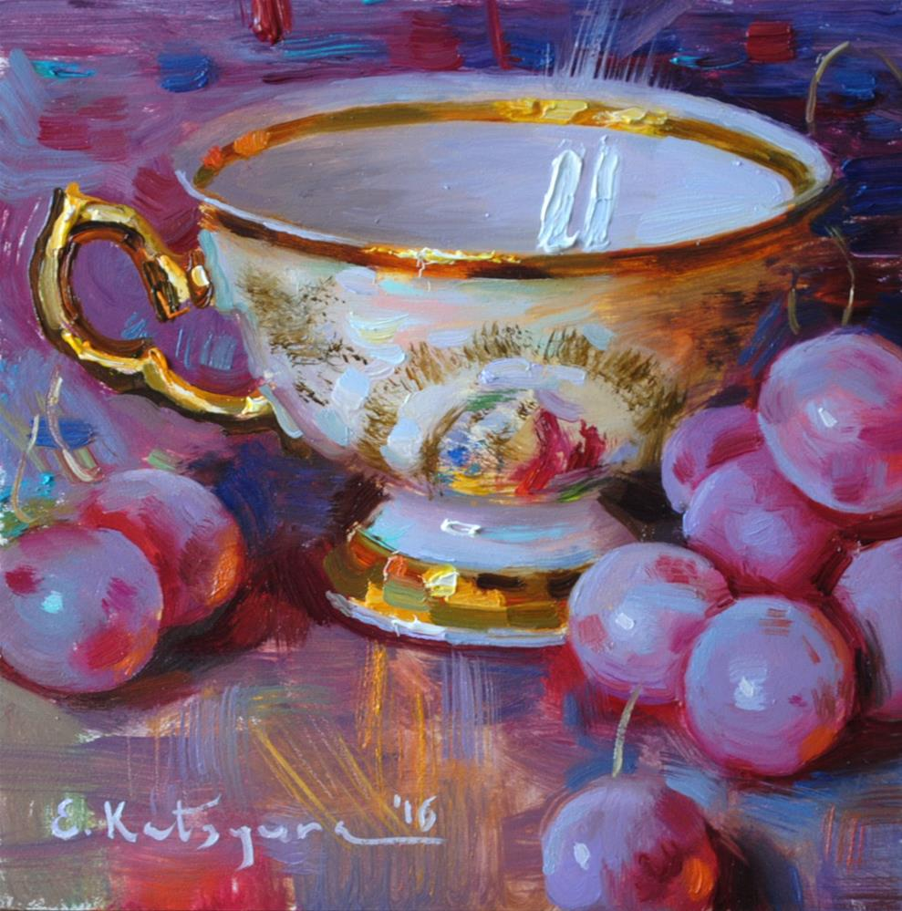 """Gold and Grapes"" original fine art by Elena Katsyura"