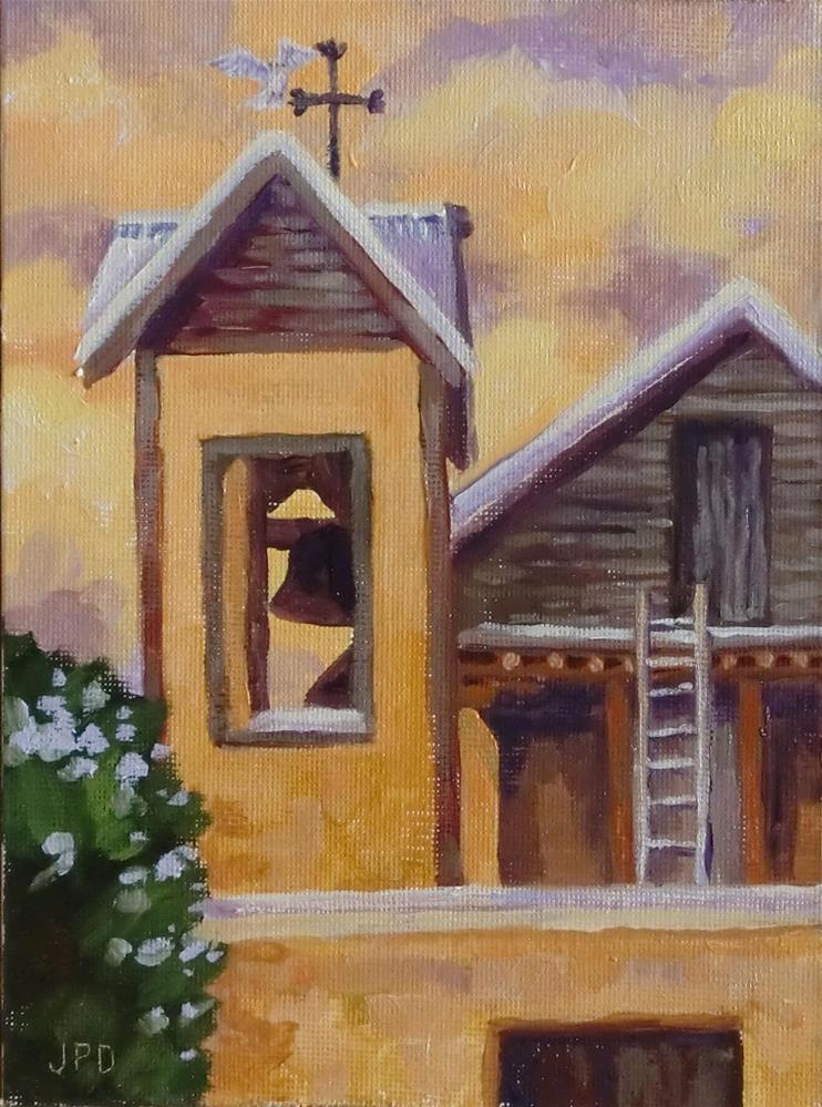 """Santuario de Chimayo with dove alighting on the bell tower cross."" original fine art by Jean Pierre DeBernay"