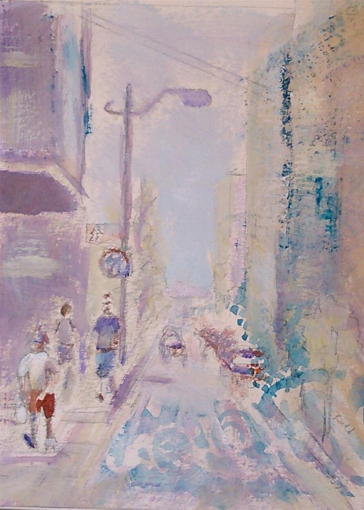 """In Town"" original fine art by Ann Rudd"