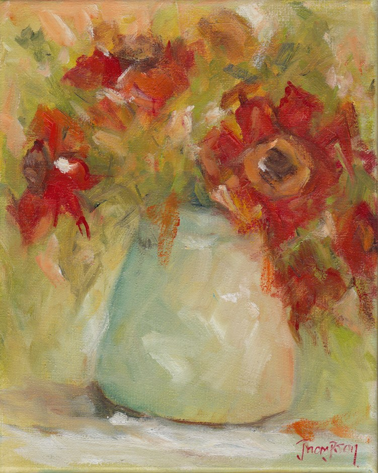 """Red Flowers in Vase"" original fine art by Norma Thompson"