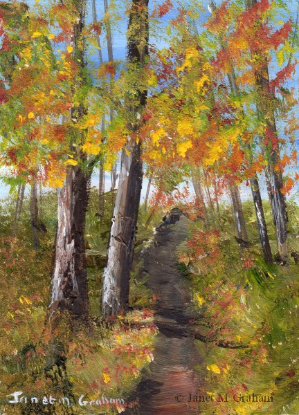 """Autumn Path ACEO"" original fine art by Janet Graham"