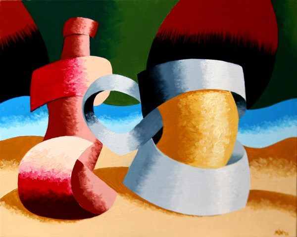 """Mark Adam Webster - Abstract Geometric Beer Mug and Bottle Oil Painting"" original fine art by Mark Webster"