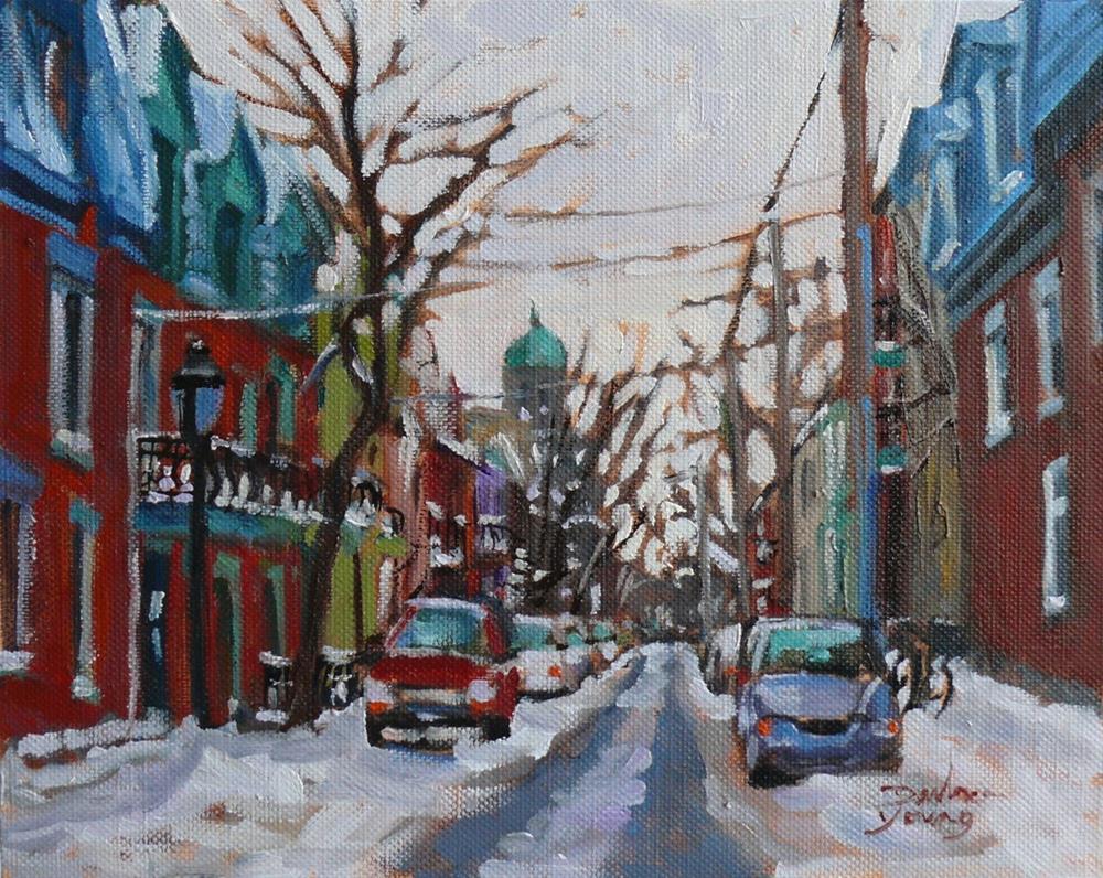 """895 Le Plateau Scene, Montreal Winter, oil on board, 8x10"" original fine art by Darlene Young"