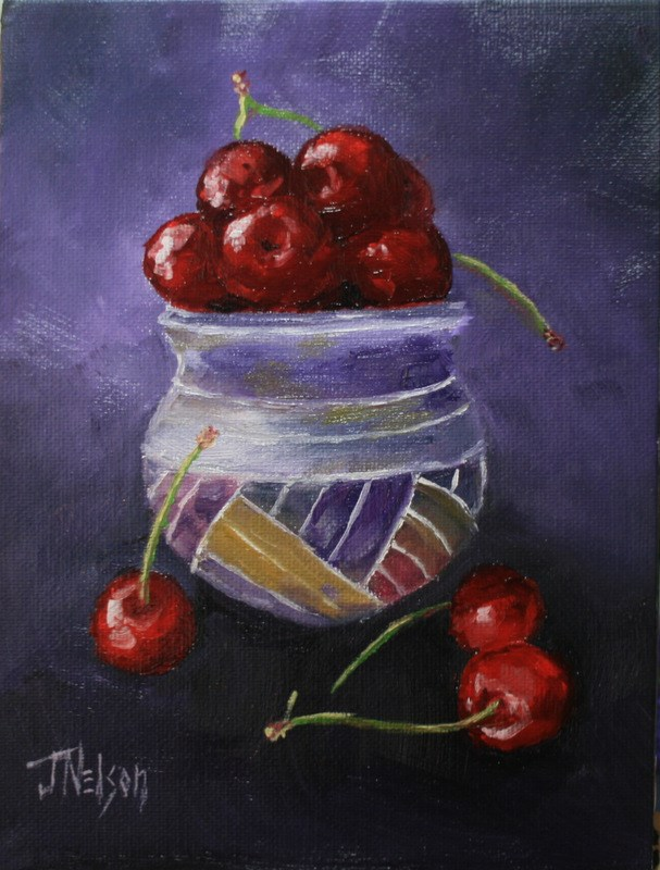 """Cherries in Stoneware Bowl"" original fine art by Jean Nelson"