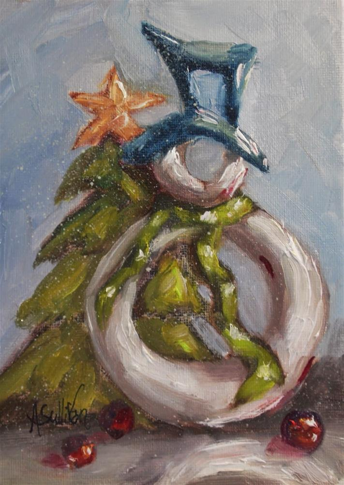 """Christmas Dreams snowman painting by Alabama Artist Angela Sullivan"" original fine art by Angela Sullivan"