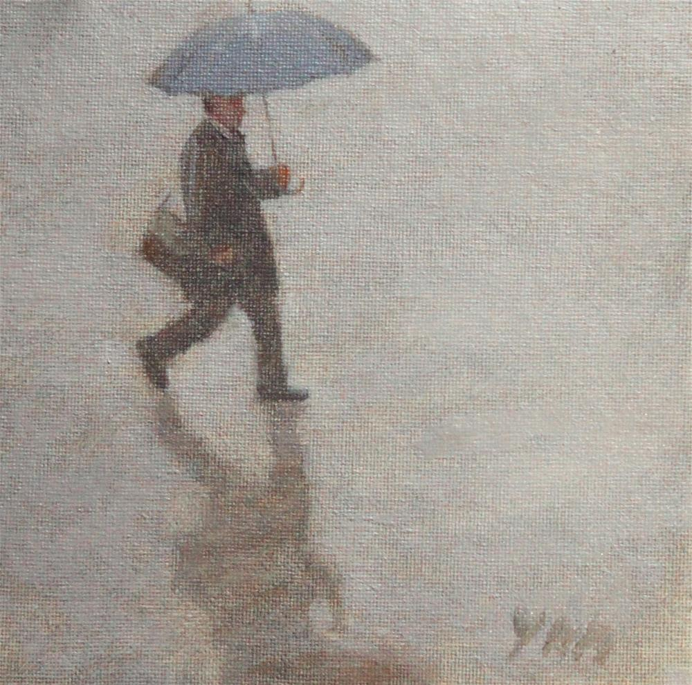 """Rain"" original fine art by Yuehua He"