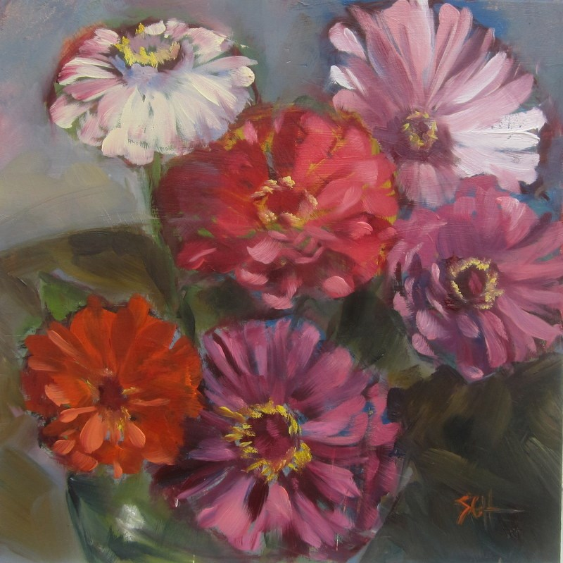"""More colorful zinnias"" original fine art by Sandy Haynes"