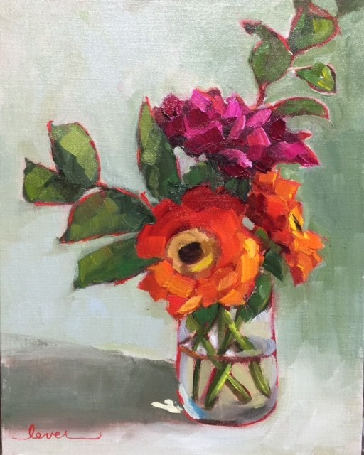 """Orange You Glad I'm Pink"" original fine art by Martha Lever"