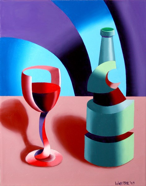 """Mark Adam Webster - Abstract Futurist Wine with Bottle Still Life Oil Painting"" original fine art by Mark Webster"