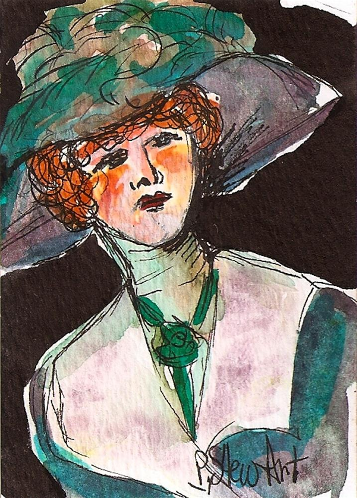 """CEO Victorian Lady in a Big Hat Watercolor and Pen, Original Art, not a print"" original fine art by Penny Lee StewArt"