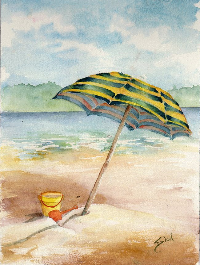 """Beach Umbrella"" original fine art by Sue Dion"