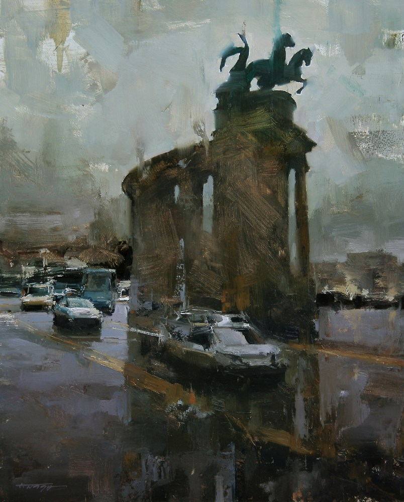 """The Monument"" original fine art by Tibor Nagy"