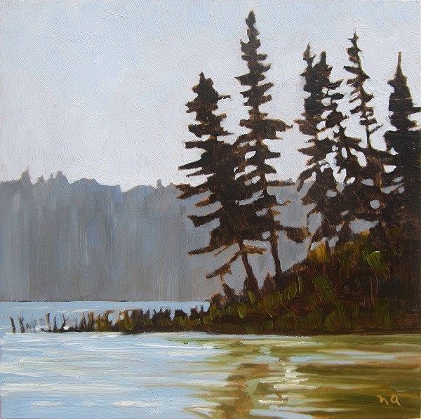 """The Point, Heart Lakes Marina, Waskesiu"" original fine art by Nicki Ault"