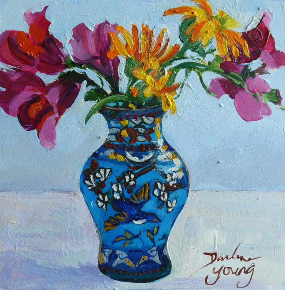 """871 Blue Bird Vase With Snapdragons and Calendulas, oil on board, 6x6"" original fine art by Darlene Young"