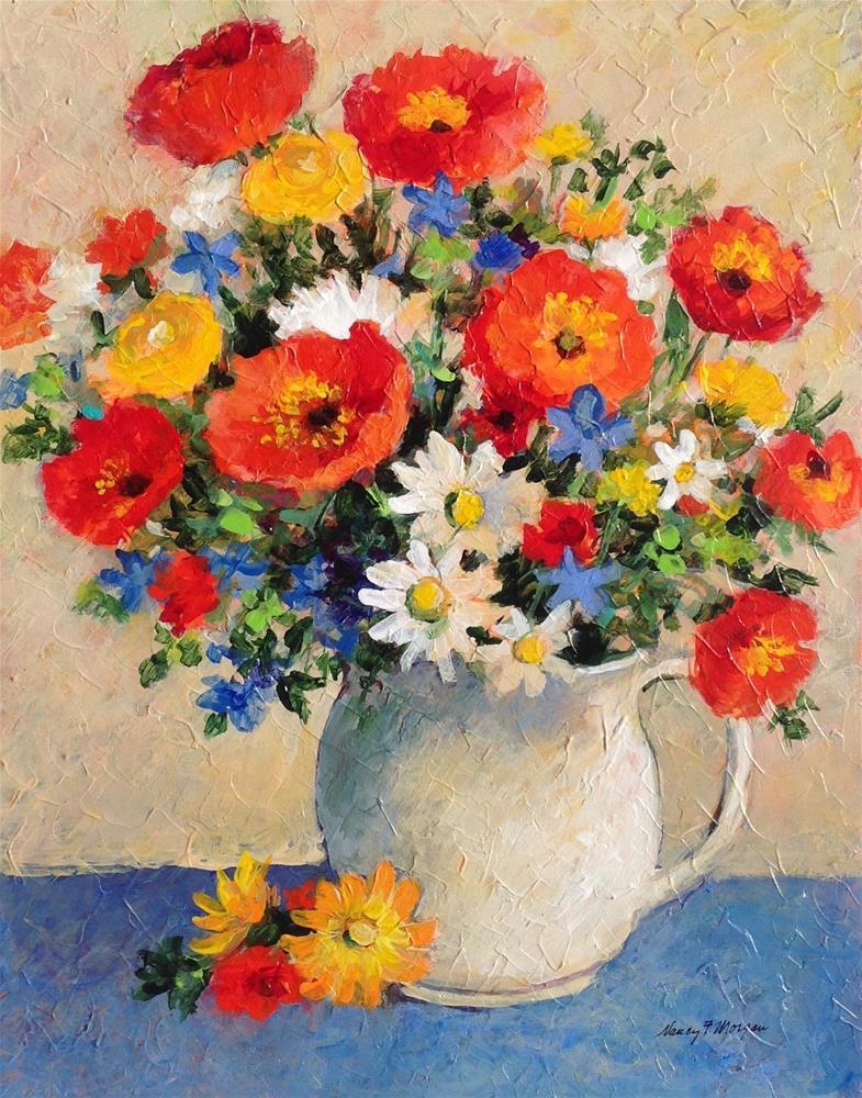 """Mollies Poppies"" original fine art by Nancy F. Morgan"