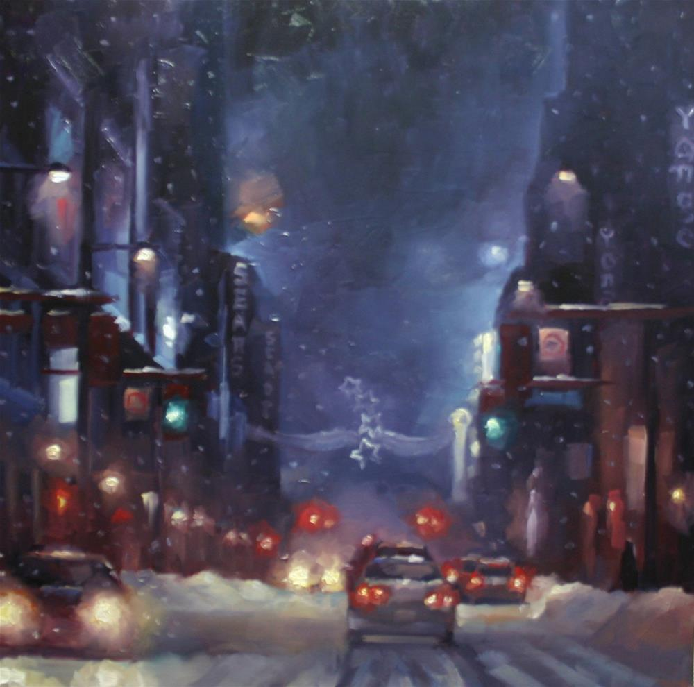"""Holiday Shoppers on Yonge Street"" original fine art by Catherine Jeffrey"