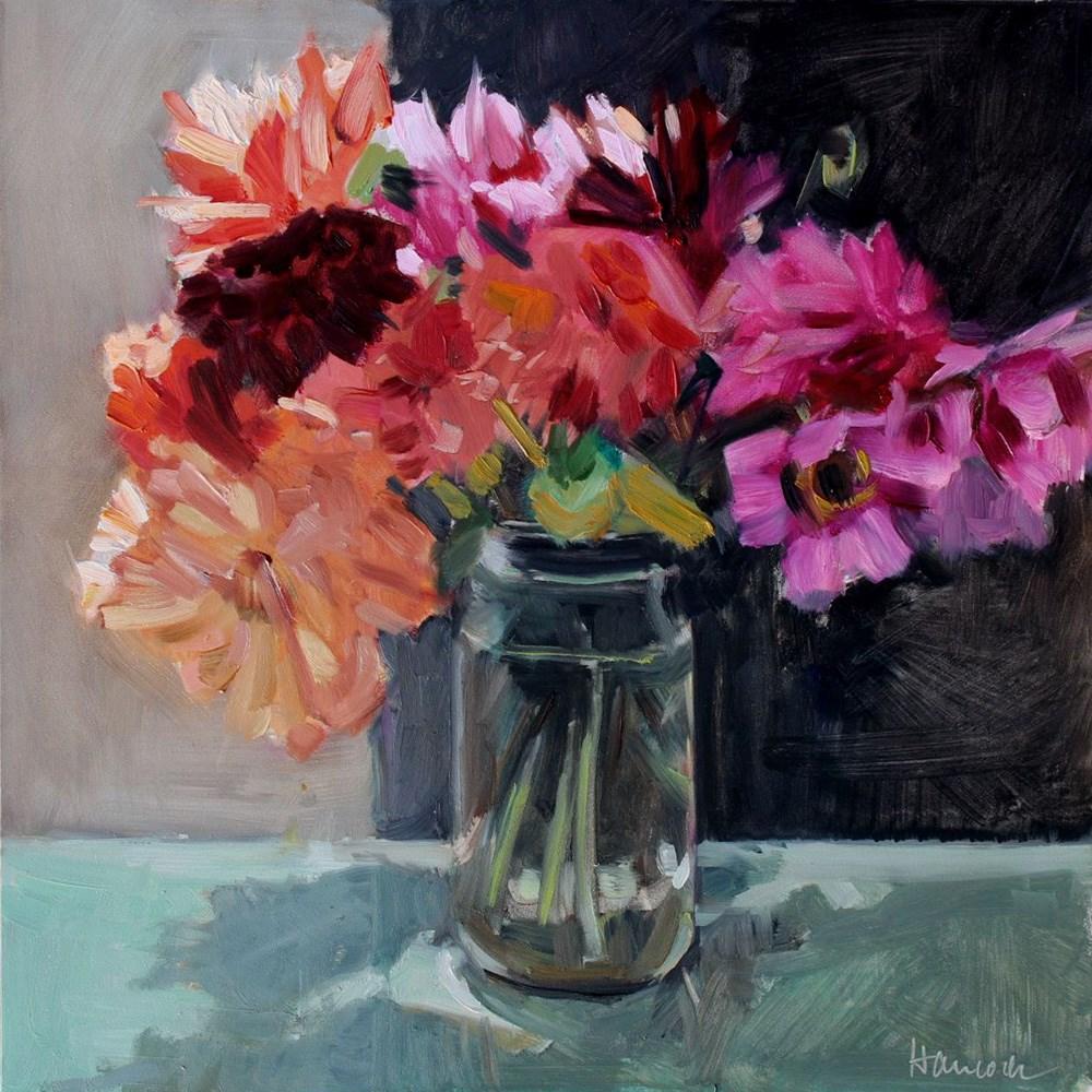 """Bouquet of Dahlias"" original fine art by Gretchen Hancock"