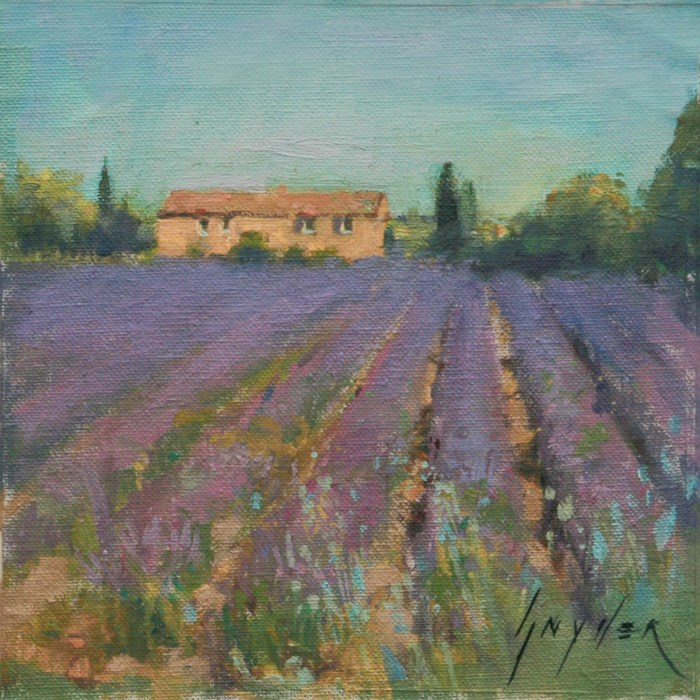"""30 Paintings in 30 Days #11 Lavender Field"" original fine art by Julie Snyder"