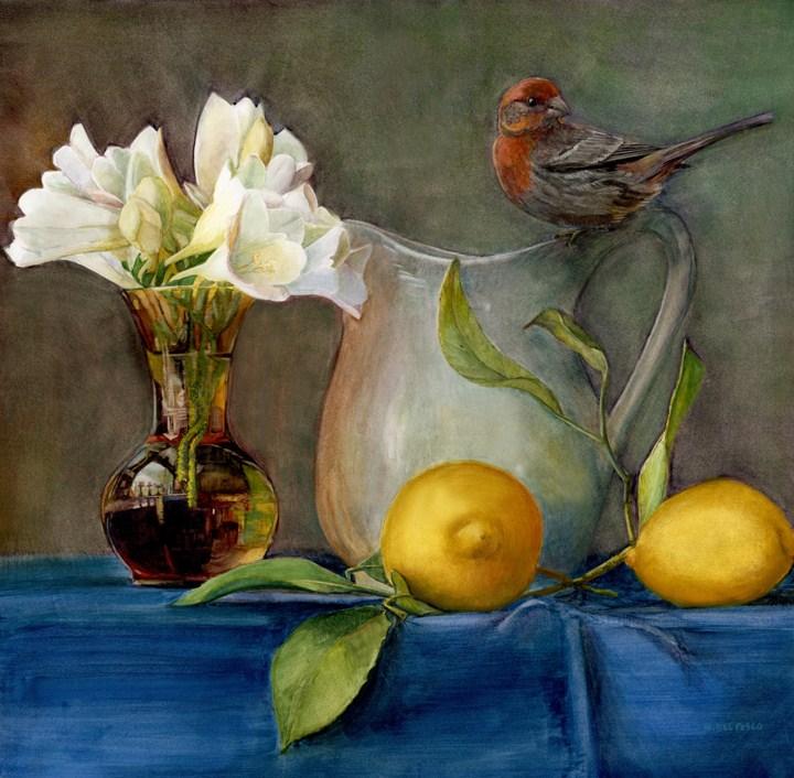 """Watercolor: House Finch & Freesia"" original fine art by Belinda Del Pesco"
