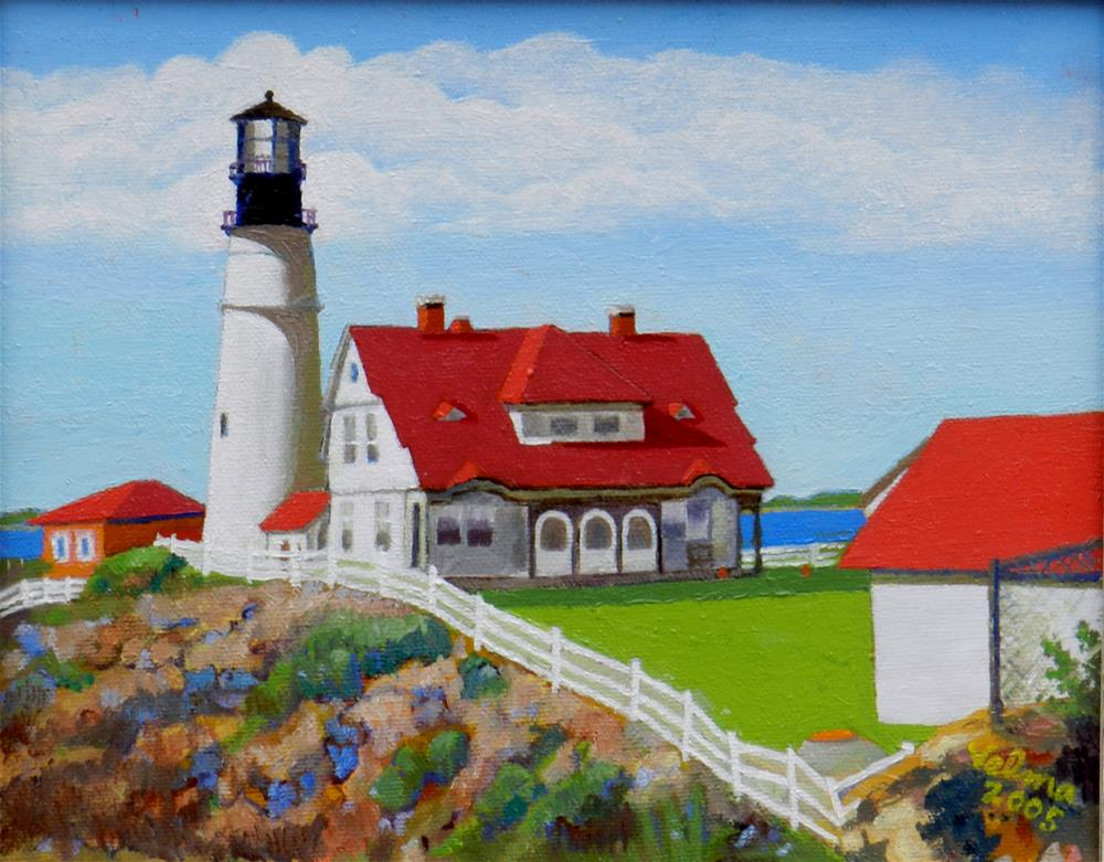 """Portland Head Light"" original fine art by Velma Davies"