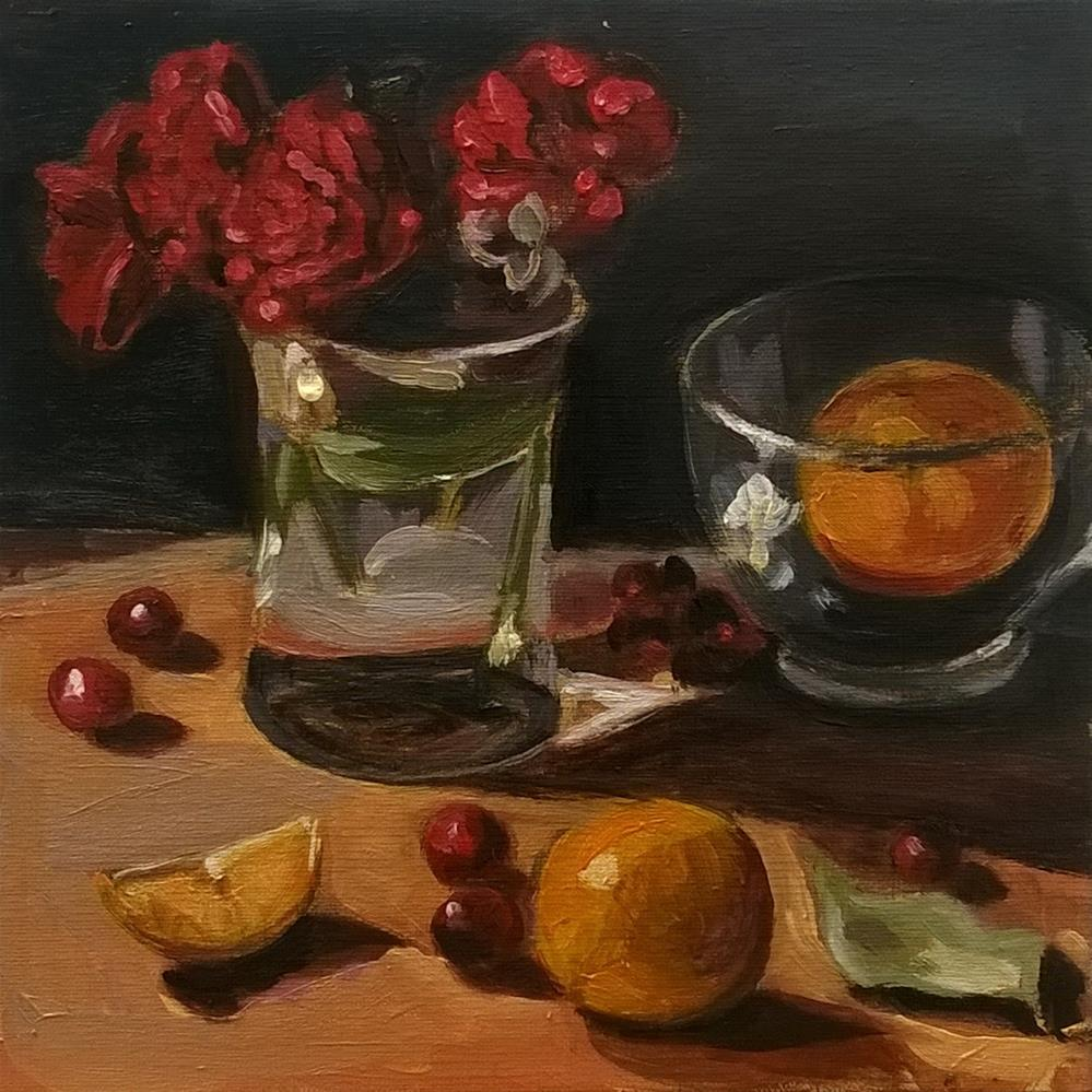 """Red Flowers with Citrus"" original fine art by Adriana B. Almquist"