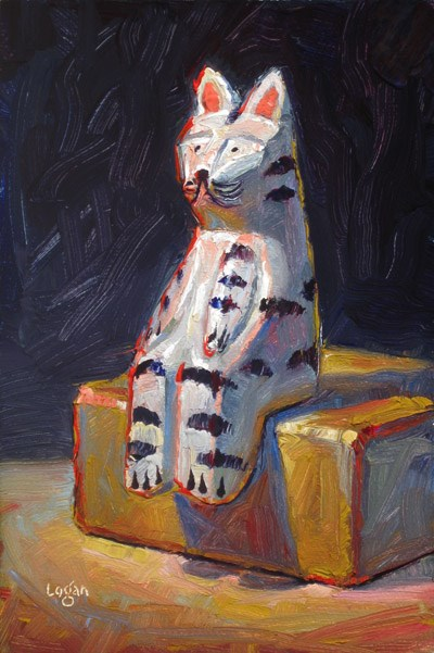 """Cat on Block"" original fine art by Raymond Logan"