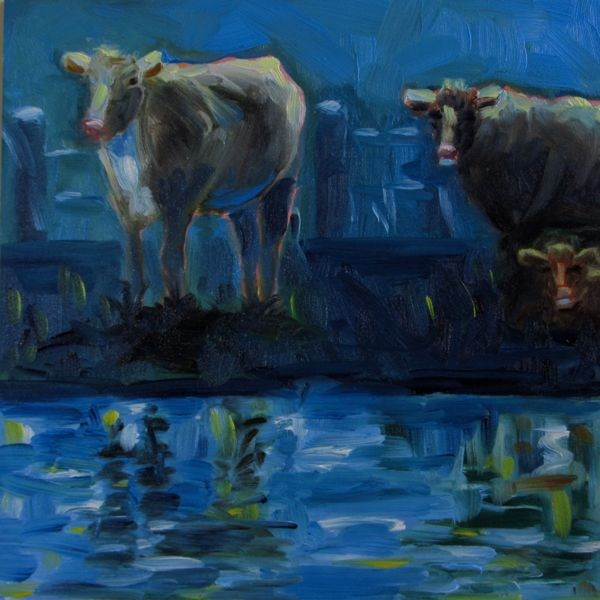 """Once in a Blue Moo - n"" original fine art by Mb Warner"