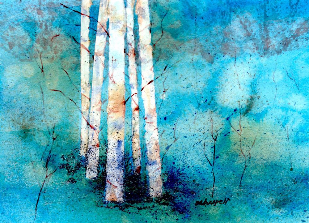 """Wintry Aspen"" original fine art by Becky Chappell"