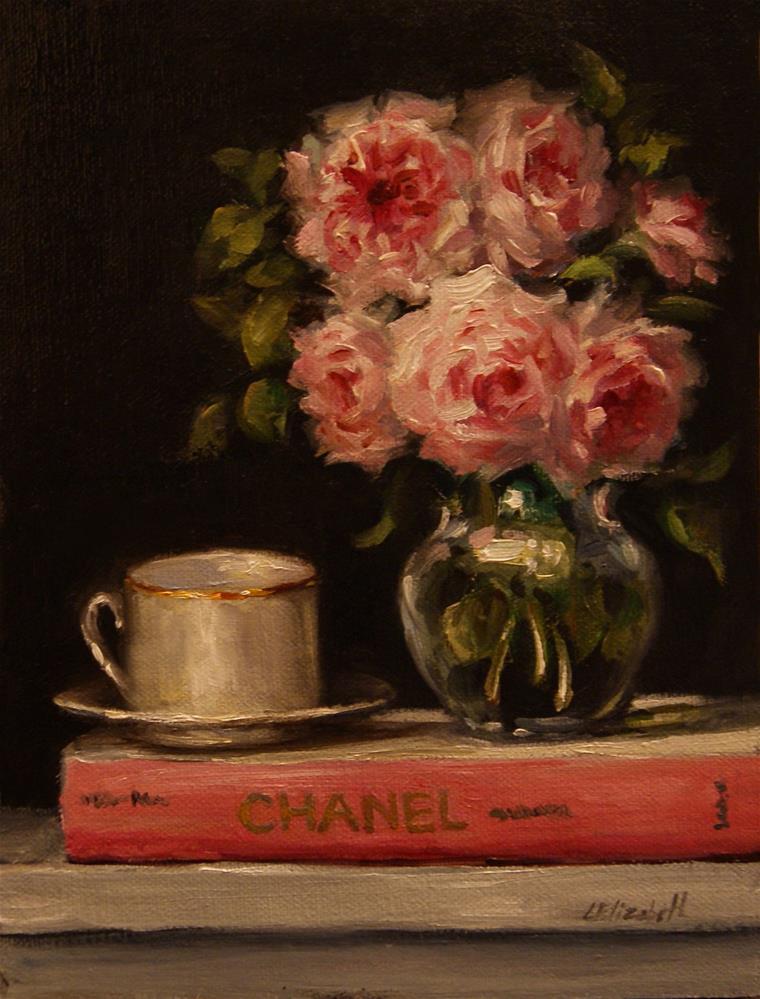 """Tea with Chanel,  Oil on 6x8 Linen Panel"" original fine art by Carolina Elizabeth"