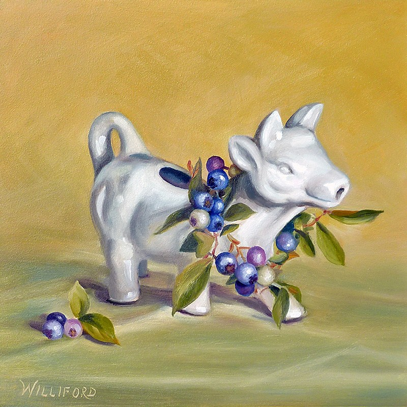 """Blueberries and Cow Creamer"" original fine art by Kathleen Williford"