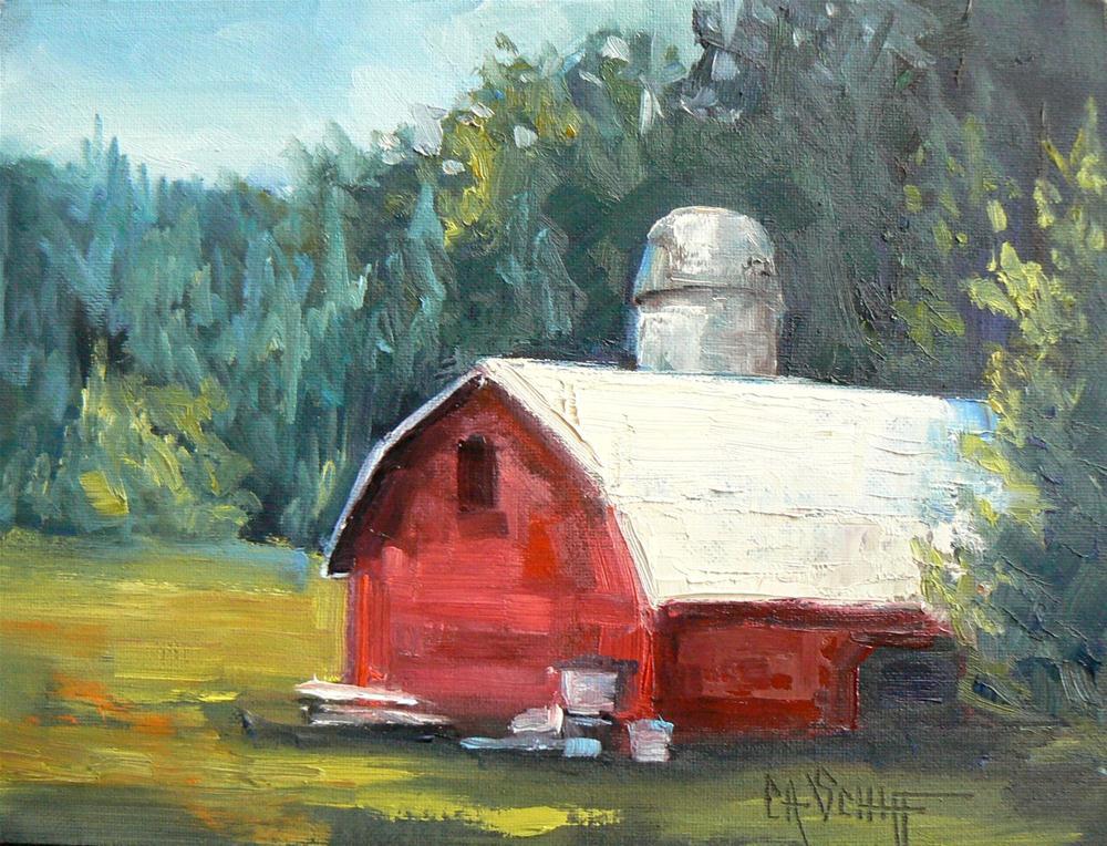 """Landscape, Barn on Thomas Valley Road 6x8"" original fine art by Carol Schiff"