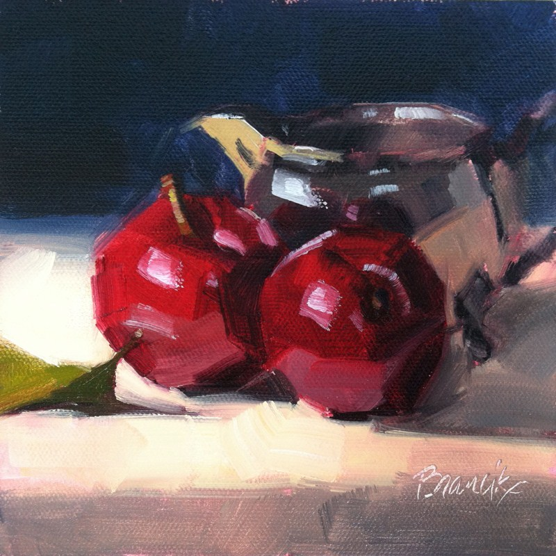 """Plums and Silver Creamer"" original fine art by Candace Brancik"