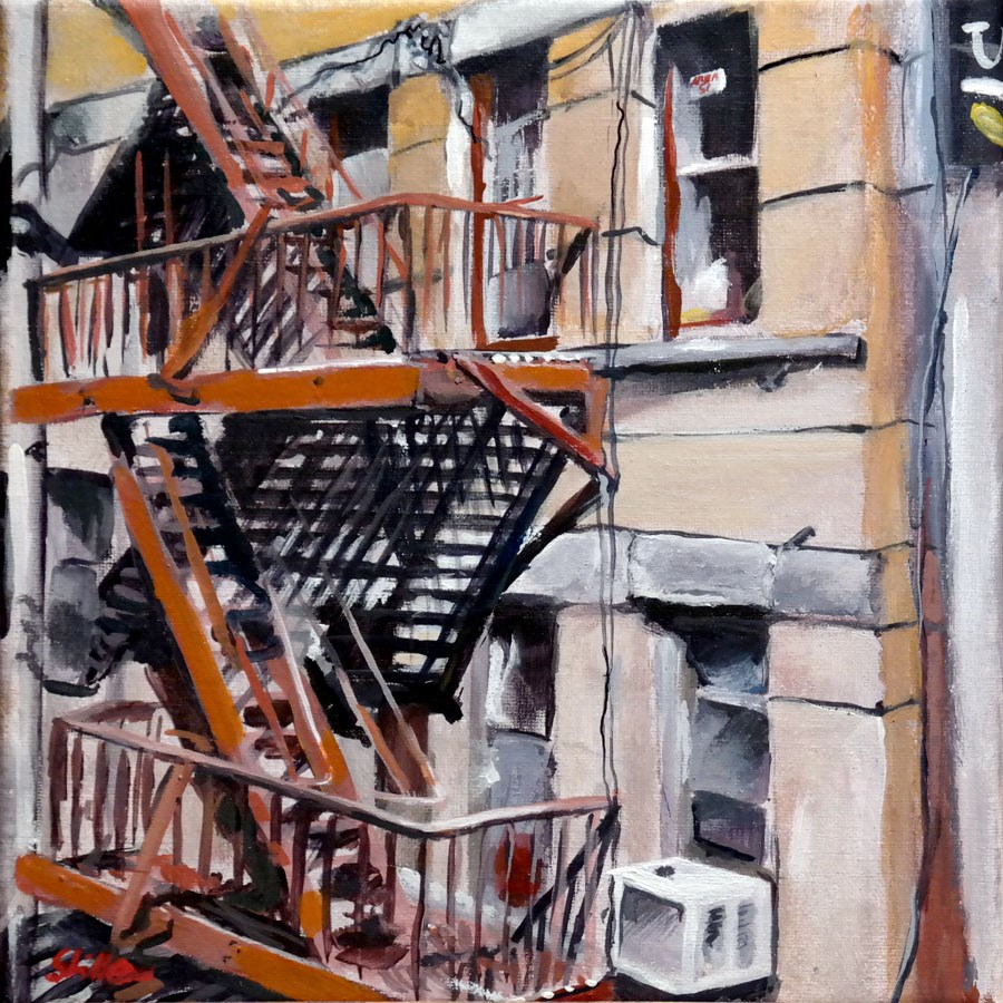 """1584 Fire Escape"" original fine art by Dietmar Stiller"